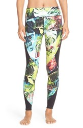 Women's Pink Lotus 'Stems' Print Performance Leggings
