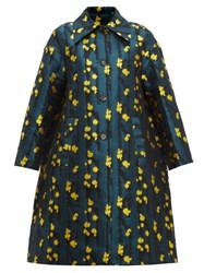La Doublej Single Breasted Splatter Jacquard Coat Green Print