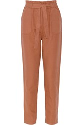 Paul And Joe Kedeson Linen And Cotton Blend Tapered Pants Brown