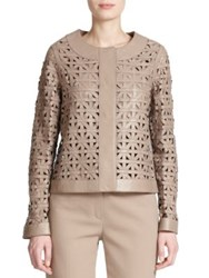 Escada Leather Lattice Weave Jacket Natural