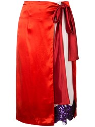 Toga Satin Contrast Wrap Skirt Red