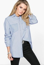 Boohoo Slim Fit Distressed Pocket Denim Shirt Blue
