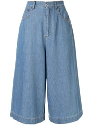 Dolce And Gabbana Cropped Wide Leg Jeans Blue