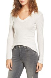 James Perse Women's Slub Cotton V Neck Long Sleeve Tee Talc