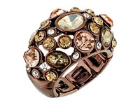 Guess Clustered Stone Dome Ring Chocolate Peach Crystal Ring Gold