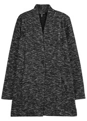 Eileen Fisher Black Melange Cotton Blend Coat Black And White