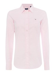 Gant Gingham Stretch Oxford Shirt Pink