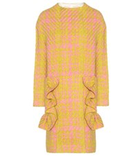 Marni Ruffled Virgin Wool Tweed Coat Yellow