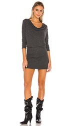 Michael Stars Cecile Cowl Neck Dress In Charcoal.