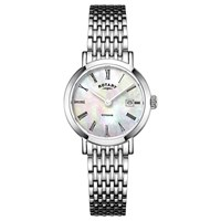Rotary Lb05300 07 Women's Windsor Date Bracelet Strap Watch Silver Mother Of Pearl