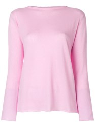 Liska Boat Neck Jumper Pink And Purple