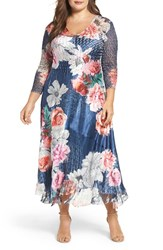 Komarov Plus Size Women's Floral Charmeuse And Chiffon Dress