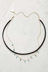 Anthropologie Suede Layered Choker Turquoise