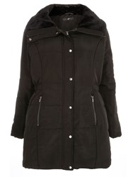 Evans Black Fur Collar Padded Coat