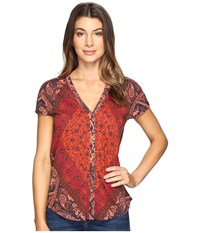 Lucky Brand Printed Button Front Tee Multi Women's T Shirt