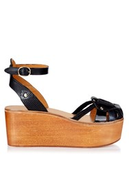 Isabel Marant Zelie Wooden Flatform Sandals Black