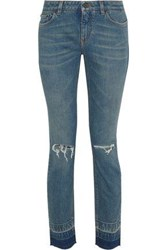 Dolce And Gabbana Distressed Low Rise Skinny Jeans Mid Denim