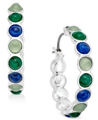 Charter Club Silver Tone Multi Stone Hoop Earrings Only At Macy's