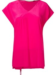 Giuliana Romanno V Neck Loose Silk Blouse Pink And Purple