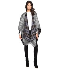 Steve Madden Tartan Plaid Reversible Ruana Black Ivory Women's Clothing