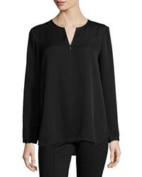 Nic Zoe Trimmed Satin Long Sleeve Blouse Black Onyx