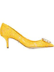Dolce And Gabbana Floral Lace Embellished Pumps Yellow And Orange