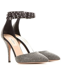 Valentino Love Latch Crystal Fabric Pumps Metallic