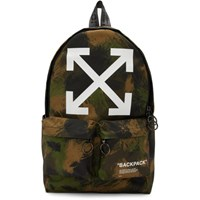Off White Green Camo Quote Backpack