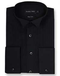 Double Two Men's King Size Wing Collar Stitch Pleat Dress Shirt Black