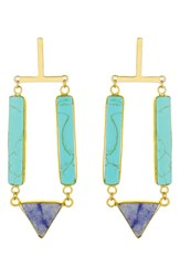 Panacea Stone Drop Earrings Turquoise Navy Multi
