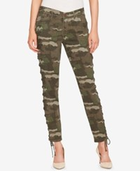 William Rast Lace Up Camo Skinny Jeans Green Camo