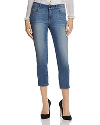Alice Olivia Jane Chain Detail Cropped Jeans In Vintage Wash