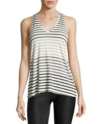 Beyond Yoga Bring It Ommmbre Striped Racer Tank Top Gray Pattern