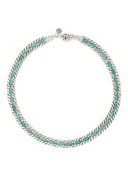 Philippe Audibert 'Pequot' Engraved Stripe Agate Stone Necklace Metallic Green