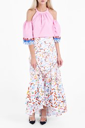 Peter Pilotto Women S Printed Cotton Long Skirt Boutique1 White