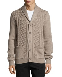 Neiman Marcus Cable Knit Shawl Collar Cardigan Desert Sand