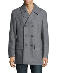 Lauren Ralph Lauren Double Breasted Peacoat Light Grey