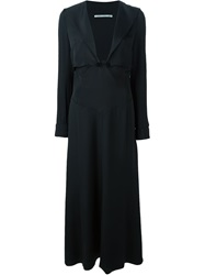 Alessandra Rich Deep V Neck Dress Black