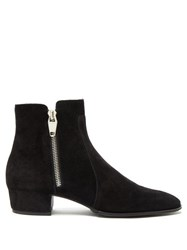 Balmain Mike Suede Ankle Boots Black
