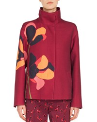 Akris Punto Stand Collar Anemone Floral Embroidered Wool Jacket Multi Pattern