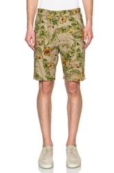 Engineered Garments Cotton Linen Floral Print Ghurka Shorts In Neutrals Floral Green