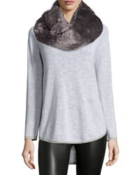 Hat Attack Faux Fur Twisted Cowl Collar Infinity Scarf Grey