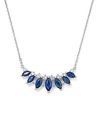 Bloomingdale's Sapphire And Diamond Pendant Necklace In 14K White Gold 16 100 Exclusive Blue White