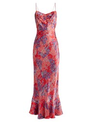 Saloni Mimi Floral Print Silk Satin Dress Red Multi