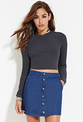 Forever 21 Ribbed Knit Crop Top Dark Grey