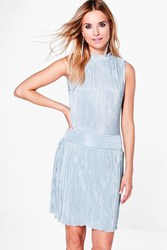 Boohoo High Neck Pleated Skater Dress Silver