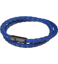 Tateossian Chelsea Leather Double Wrap Bracelet Blue