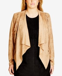 City Chic Trendy Plus Size Faux Suede Fringe Trim Jacket Stone