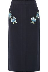 Vilshenko Embroidered Cotton Twill Midi Skirt