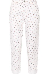 Current Elliott The Fling Floral Print Mid Rise Slim Boyfriend Jeans White